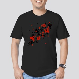 Scattered Card Suits Men's Fitted T-Shirt (dark)