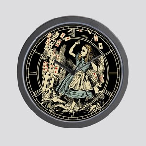 Vintage Alice Flying Cards Dark Wall Clock