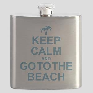 Keep Calm Go To The Beach Flask