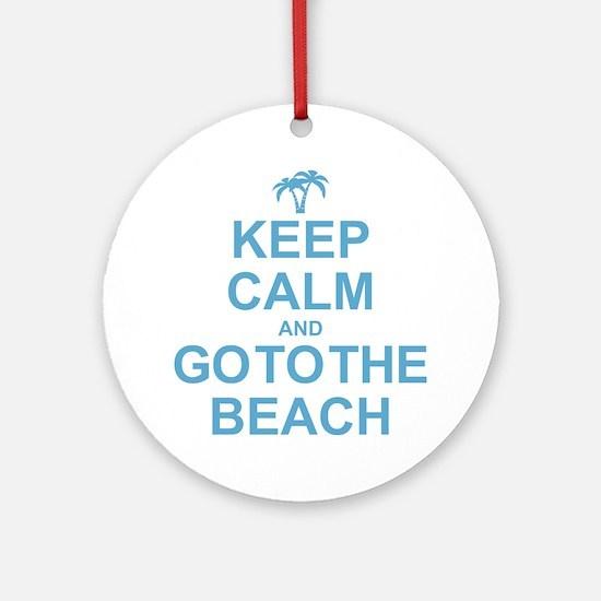 Keep Calm Go To The Beach Ornament (Round)
