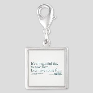 Have some fun. - Grey's Anato Silver Square Charm
