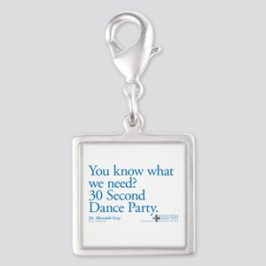 30 Second Dance Party Quote Silver Square Charm