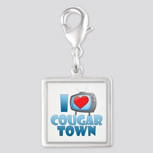 I Heart Cougar Town Silver Square Charm