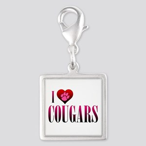 I Heart Cougars Silver Square Charm