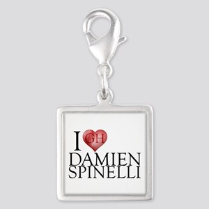 I Heart Damien Spinelli Silver Square Charm
