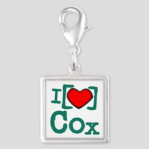 I Heart Cox Silver Square Charm