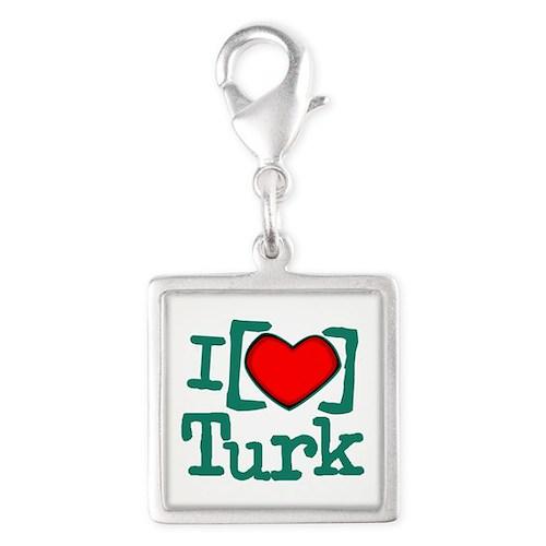I Heart Turk Silver Square Charm