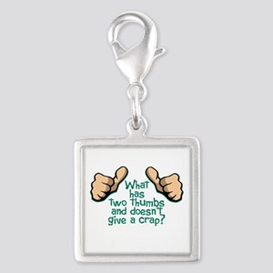 Two Thumbs Silver Square Charm
