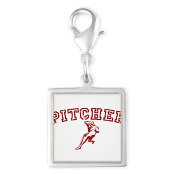 Pitcher - Red Silver Square Charm