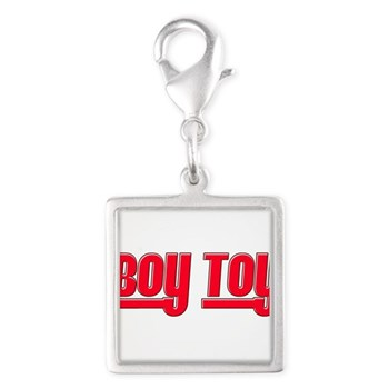 Boy Toy - Red Silver Square Charm
