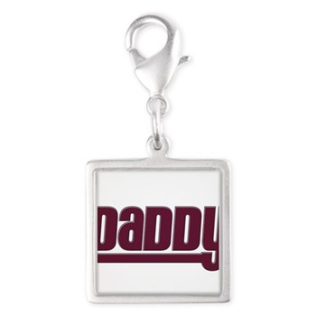 Daddy - Red Silver Square Charm