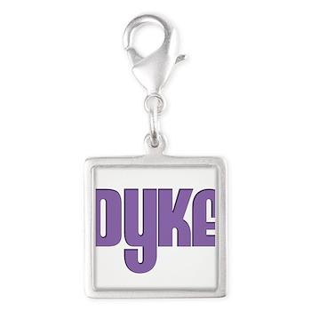 Purple Dyke Silver Square Charm
