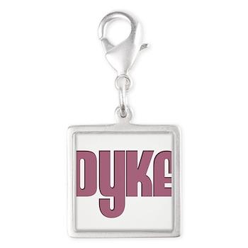 Pink Dyke Silver Square Charm