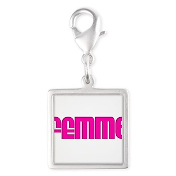Femme Silver Square Charm
