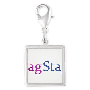 Fag Stag Silver Square Charm