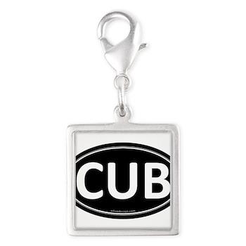CUB Black Euro Oval Silver Square Charm