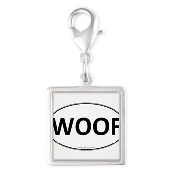 WOOF Euro Oval Silver Square Charm