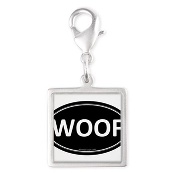 WOOF Black Euro Oval Silver Square Charm