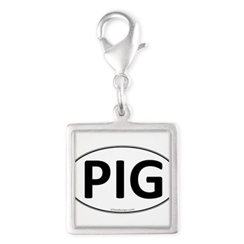 PIG Euro Oval Silver Square Charm