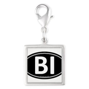 BI Black Euro Oval Silver Square Charm