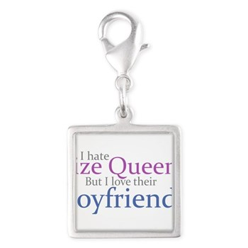 I Hate Size Queens Silver Square Charm