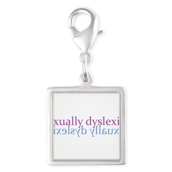 Sexually Dyslexic Silver Square Charm