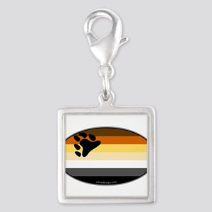 Oval Bear Pride Flag Silver Square Charm