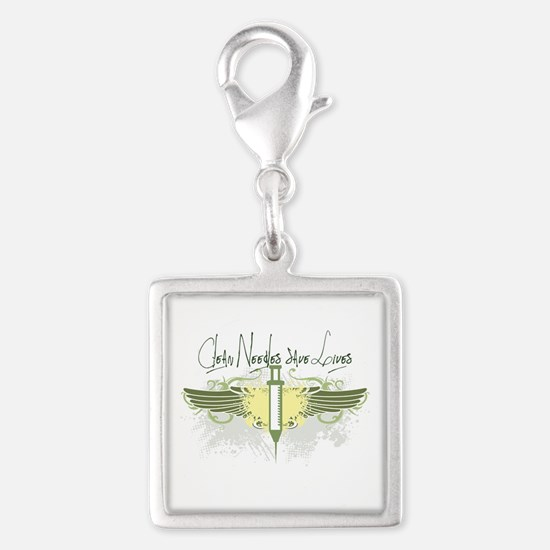 Clean Needles Save Lives Silver Square Charm