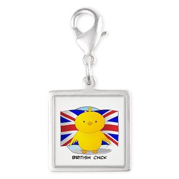 British Chick Silver Square Charm