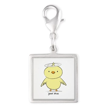 Good Chick Silver Square Charm