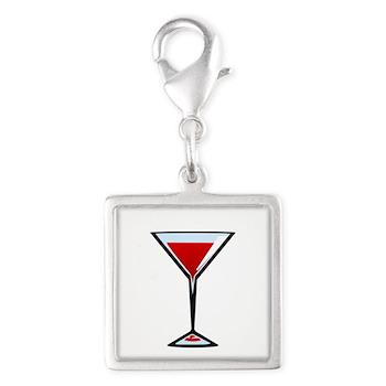 Vampire Martini Silver Square Charm