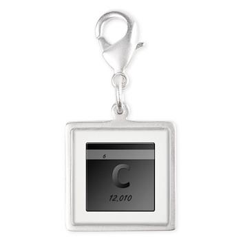 Carbon (C) Silver Square Charm