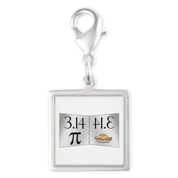PI 3.14 Reflected as PIE Silver Square Charm