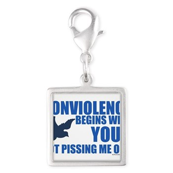 Nonviolence Begins with You.. Silver Square Charm