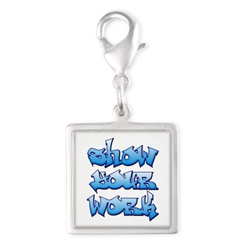 Show Your Work Graffiti Silver Square Charm