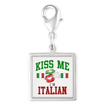 Kiss Me I'm Italian Silver Square Charm