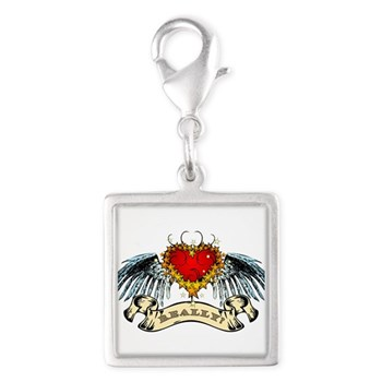 Really? Winged Heart Silver Square Charm