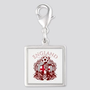 England Soccer Silver Square Charm