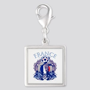 France Soccer Silver Square Charm