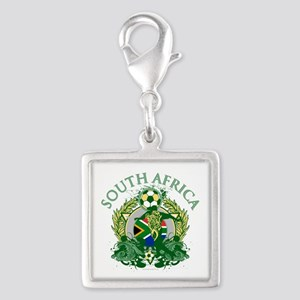 South Africa Soccer Silver Square Charm