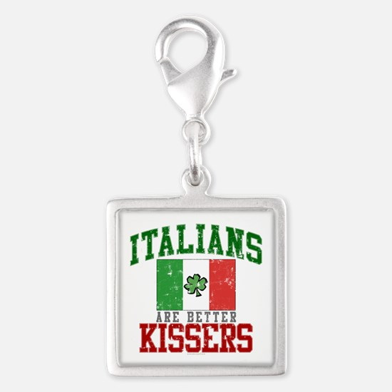 Italians Are Better Kissers Silver Square Charm