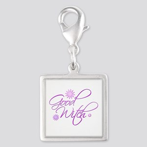 Good Witch Silver Square Charm