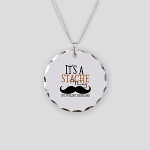 It's A Stache Thing Necklace Circle Charm