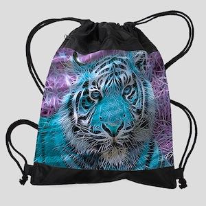 Crazy blue Tiger (C) Drawstring Bag