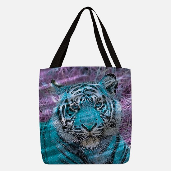 Crazy blue Tiger (C) Polyester Tote Bag