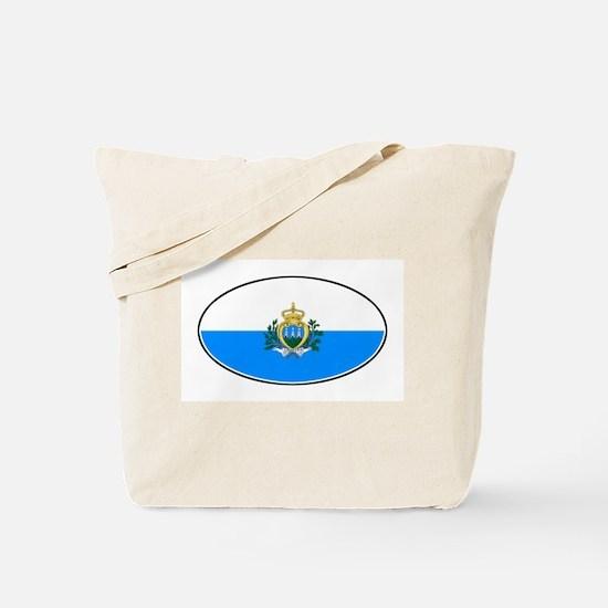 San Marino Oval Flag Tote Bag