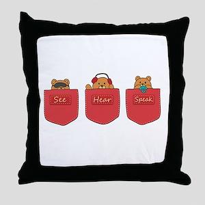 Cute Cartoon Teddy Bears in Pockets Throw Pillow