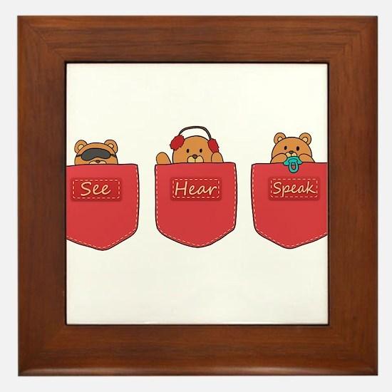 Cute Cartoon Teddy Bears in Pockets Framed Tile