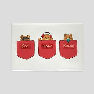Cute Cartoon Teddy Bears in Pockets Rectangle Magn
