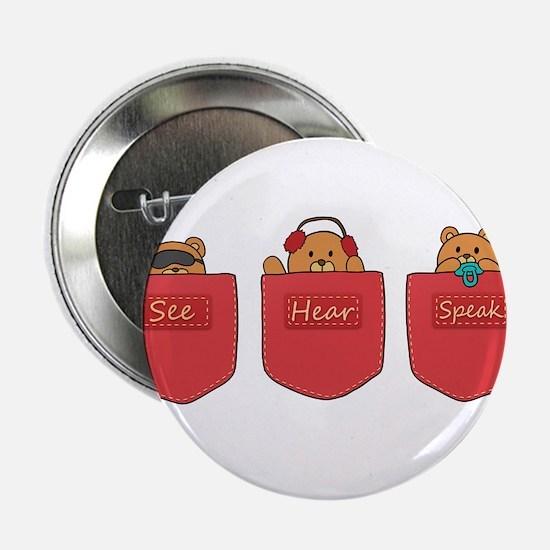 "Cute Cartoon Teddy Bears in Pockets 2.25"" Button"